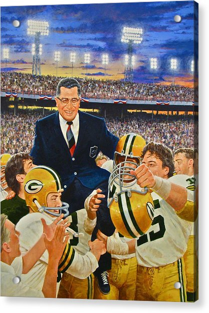 Acrylic Print featuring the painting Vince Lombardi by Cliff Spohn