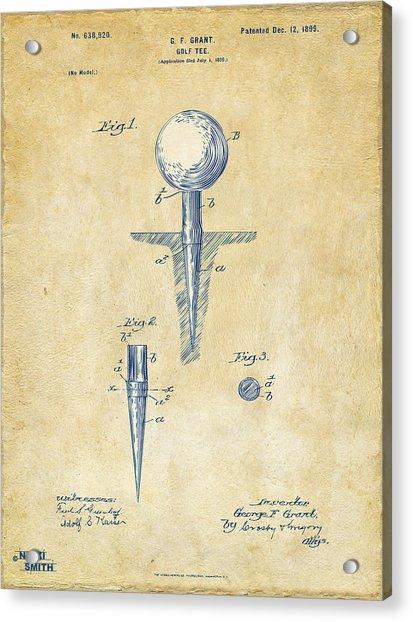 Vintage 1899 Golf Tee Patent Artwork Acrylic Print