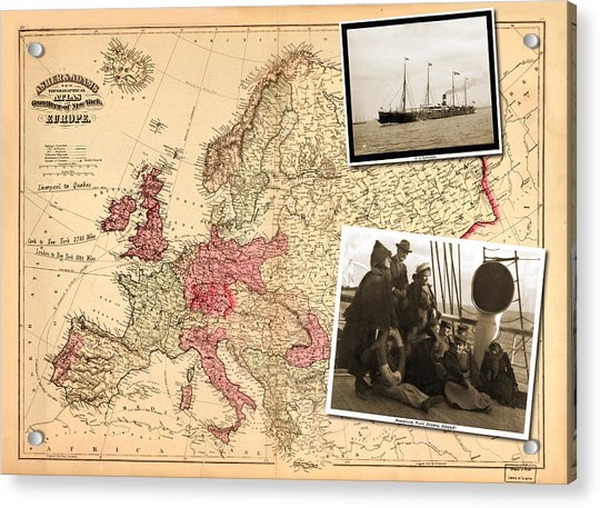 Vintage Map Europe To New York Acrylic Print