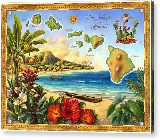 Vintage Map Of Hawaii Acrylic Print