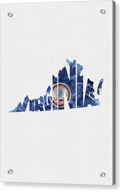 Virginia Typographic Map Flag Acrylic Print
