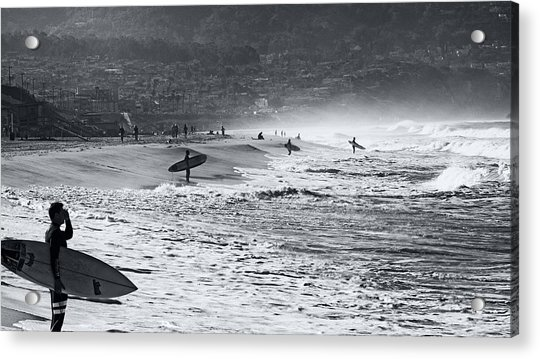 Waiting For The Surf By Mike-hope Acrylic Print