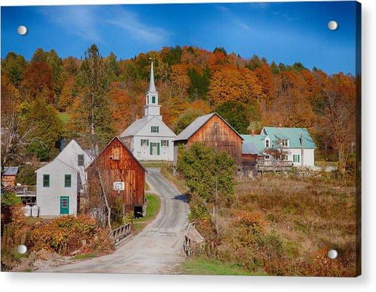 Waits River Church In Autumn Acrylic Print