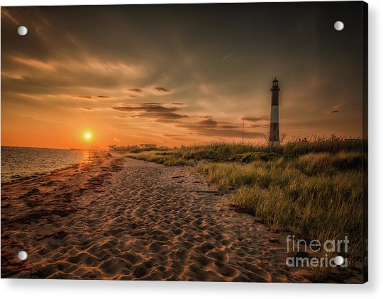 Warm Sunrise At The Fire Island Lighthouse Acrylic Print