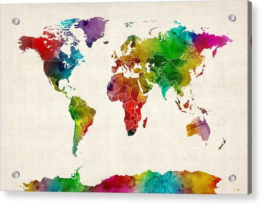 Watercolor Map Of The World Map Acrylic Print