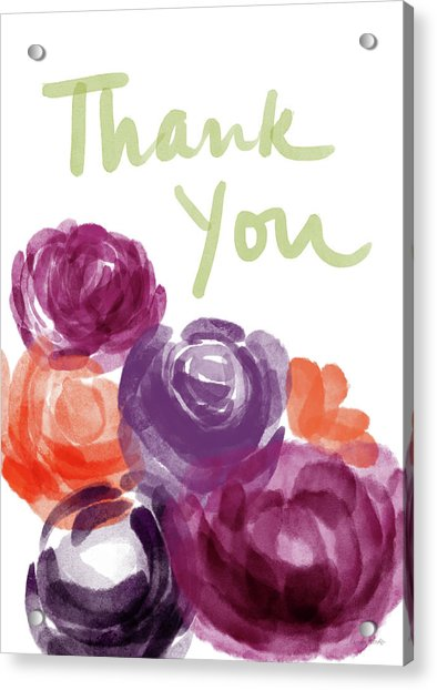 Watercolor Roses Thank You- Art By Linda Woods Acrylic Print