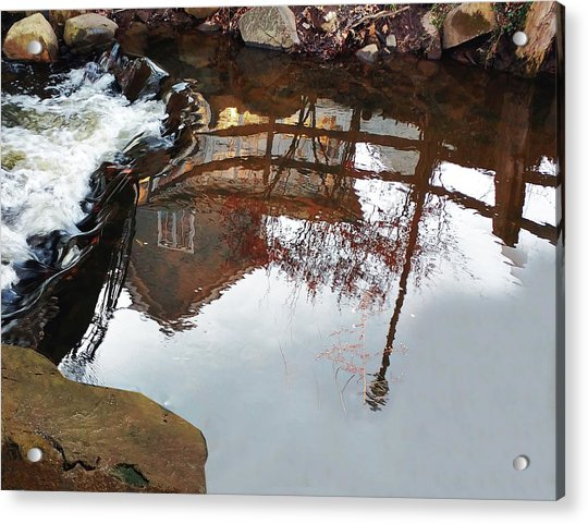 Waterfall From Calm Waters Acrylic Print