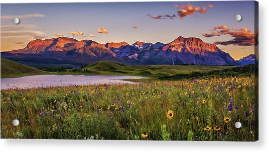 Waterton Lakes Sunset Acrylic Print by Tracy Munson