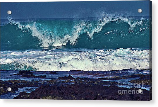 Wave Breaking On Lava Rock 2 Acrylic Print