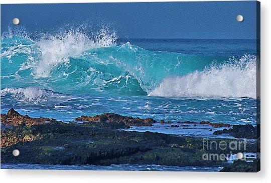 Wave Breaking On Lava Rock Acrylic Print