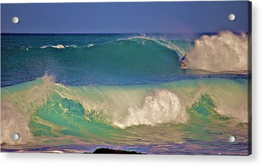 Waves And Surfer In Morning Light 2 Acrylic Print