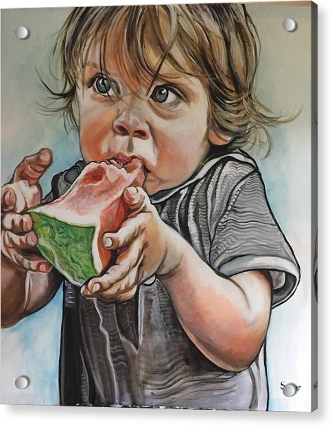 Westy And The Watermelon Acrylic Print