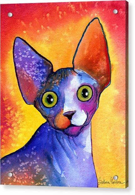 Whimsical Sphynx Cat Painting Acrylic Print
