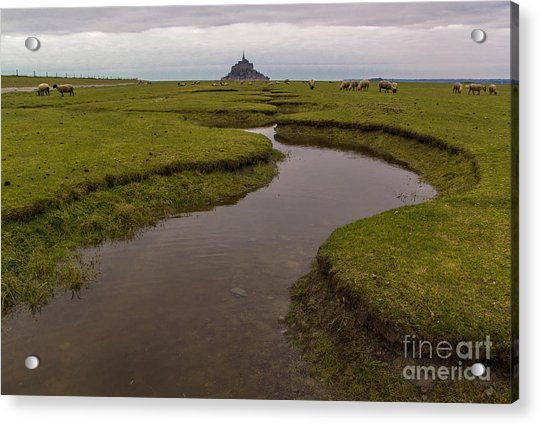 Winding In The Mont Saint-michel Bay Acrylic Print