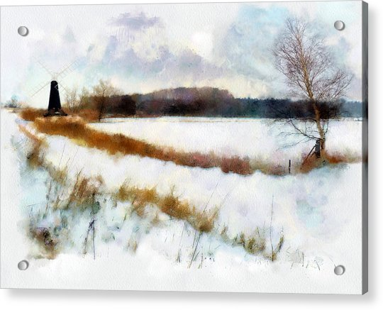 Acrylic Print featuring the painting Windmill In The Snow by Valerie Anne Kelly