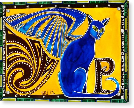 Winged Feline - Cat Art With Letter P By Dora Hathazi Mendes Acrylic Print