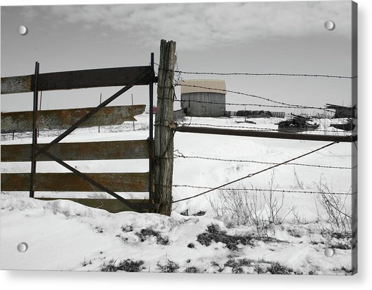 Winter Fence Farm Acrylic Print