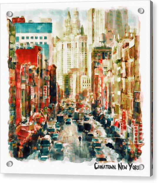 Winter In Chinatown - New York Acrylic Print