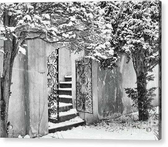 Winter Steps At The Vanderbilt In Centerport, Ny Acrylic Print
