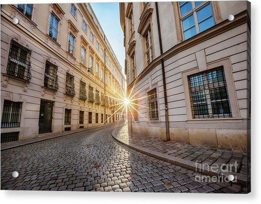 winter sun between two buildings in Vienna Acrylic Print
