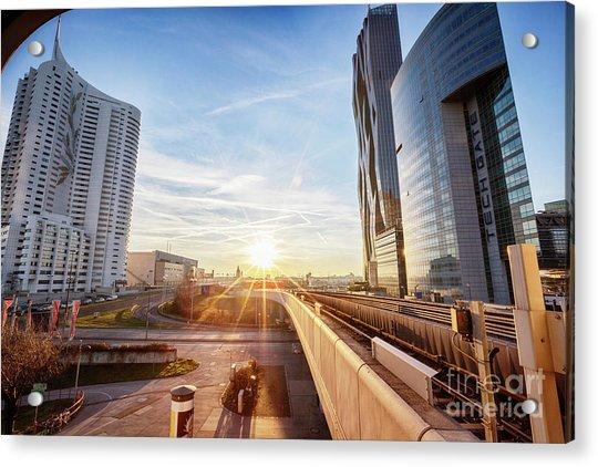 winter sunset near Vienna busness center and metro line Acrylic Print