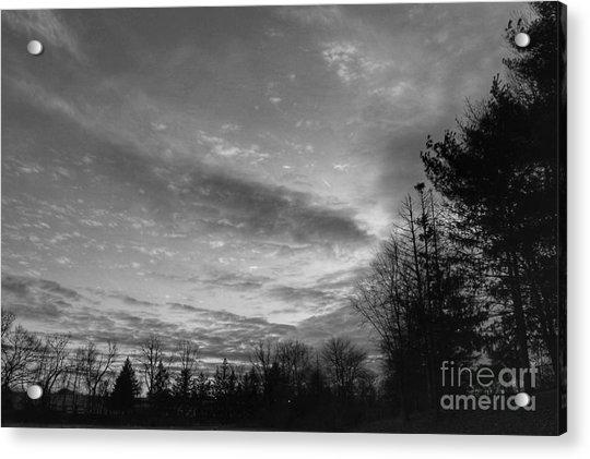 Winter Sunset On Woodland Lake Acrylic Print