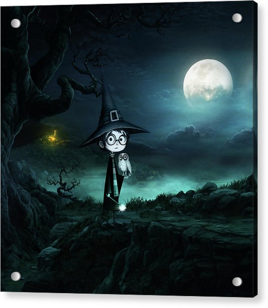 Witch At Halloween Acrylic Print