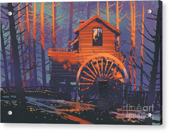 Acrylic Print featuring the painting Wooden House by Tithi Luadthong