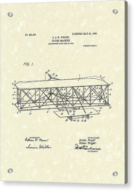 Wright  Brothers Flying Machine 1906 Patent Art Acrylic Print