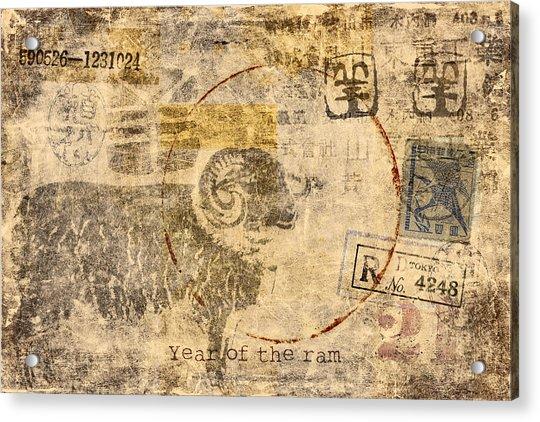 Year Of The Ram Postcard Acrylic Print
