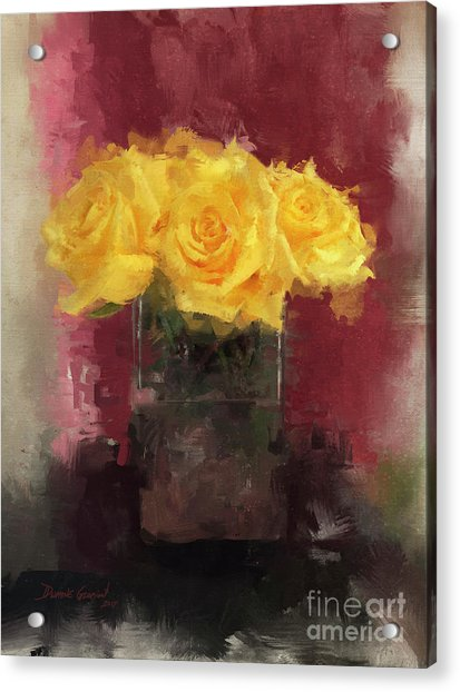 Acrylic Print featuring the digital art Yellow Roses by Dwayne Glapion