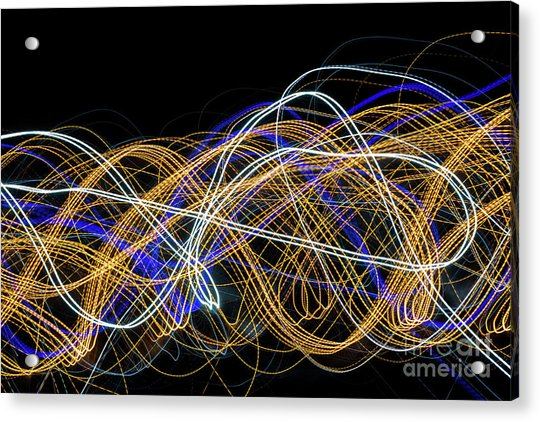 Colorful Light Painting With Circular Shapes And Abstract Black Background. Acrylic Print