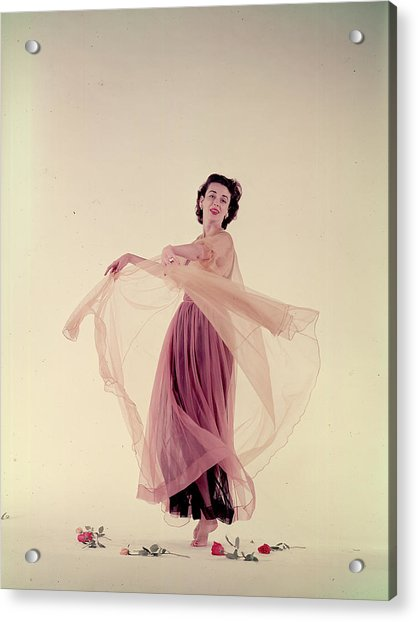 Dorian Leigh In Nightgown Acrylic Print by Gjon Mili