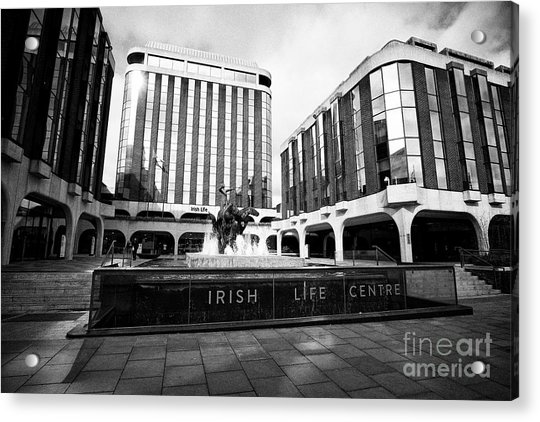 Irish Life Centre With Chariot Of Life Sculpture And Fountain Dublin Republic Of Ireland Europe Acrylic Print by Joe Fox