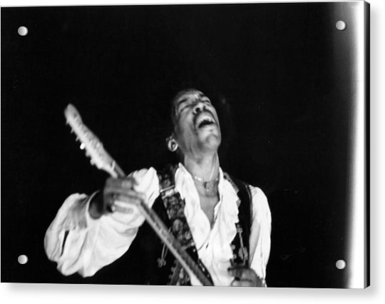 Jimi Hendrix Performs At Monterey Acrylic Print by Michael Ochs Archives