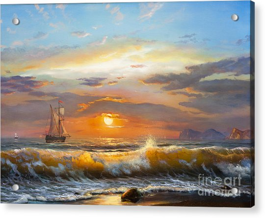 Oil Painting On Canvas , Sailboat Acrylic Print