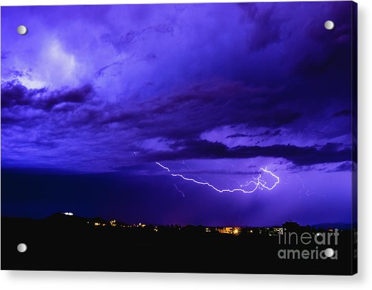 Rays In A Night Storm With Light And Clouds. Acrylic Print