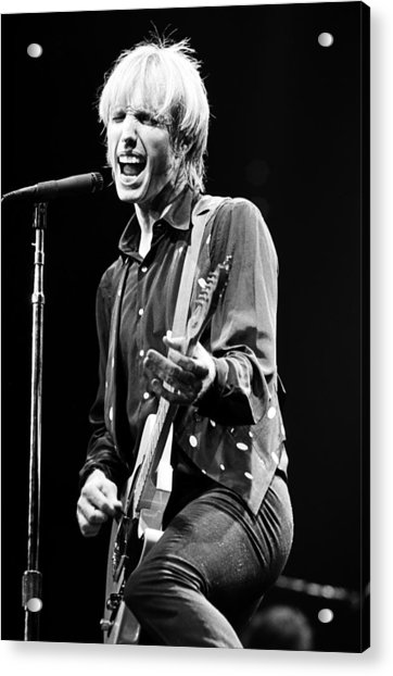 Singer Tom Petty Performs In Concert Acrylic Print by George Rose