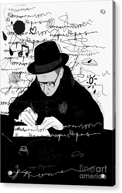 Symbolic Image Of A Man Who Writes A Acrylic Print