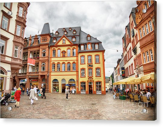 Trier, Germany,  People By Market Day Acrylic Print
