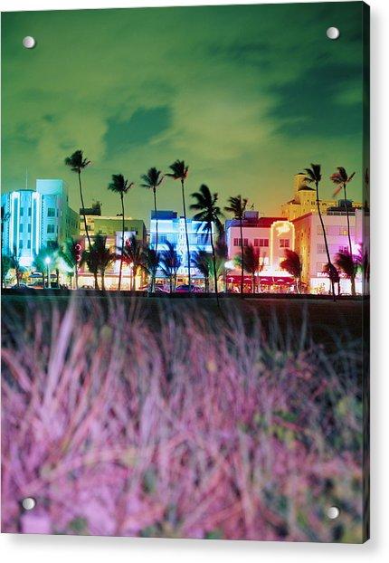 Usa, Florida, Miami, Ocean Drive, Night Acrylic Print by Jerry Driendl