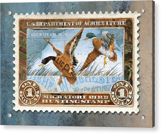 1934 Hunting Stamp Collage Acrylic Print