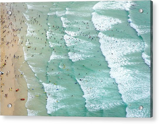 Swimmers And Surfers On Beach, Aerial Acrylic Print