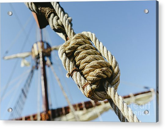 Rigging And Ropes On An Old Sailing Ship To Sail In Summer. Acrylic Print