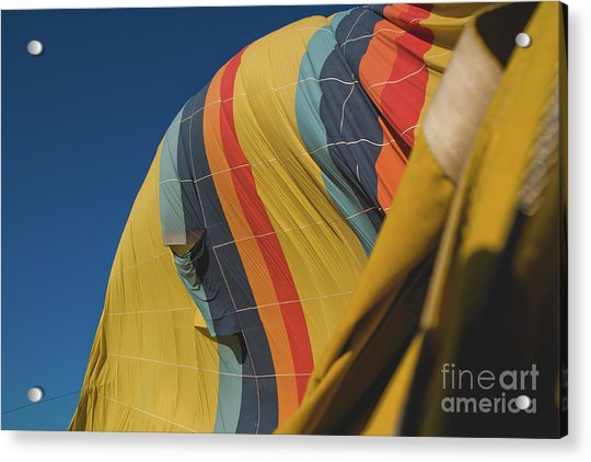 Colorful Balloons Flying Over Mountains And With Blue Sky Acrylic Print