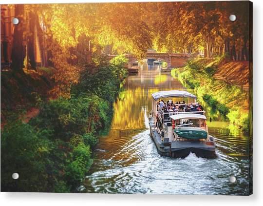 A Boat Trip On Canal De Brienne Toulouse France  Acrylic Print