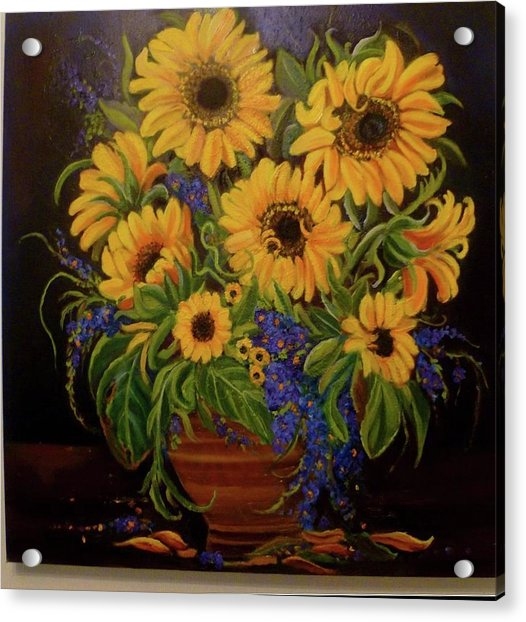 A Bouquet Of Sunflowers Acrylic Print by Janet Silkoff