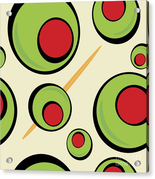 A Green Olives Pattern That Tiles Acrylic Print