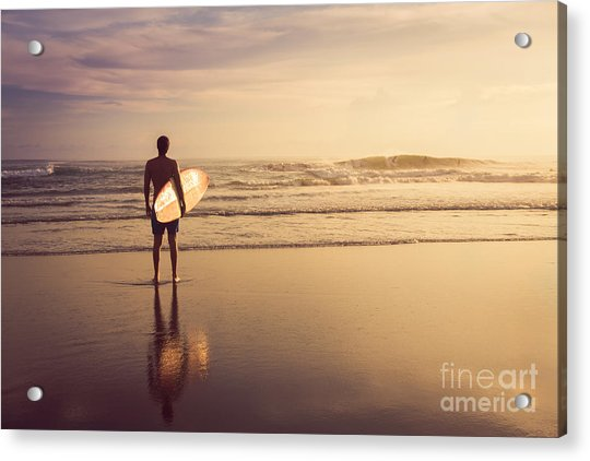 A Man Is Standing With A Surf In His Acrylic Print by Mariia Smeshkova