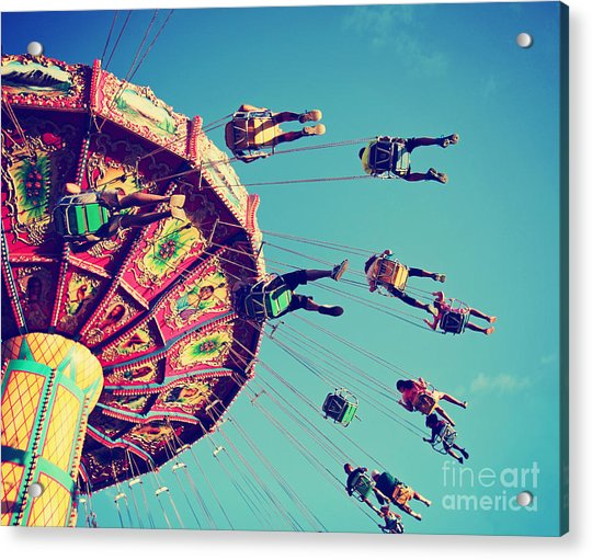 A Swinging Fair Ride At Dusk Toned With Acrylic Print